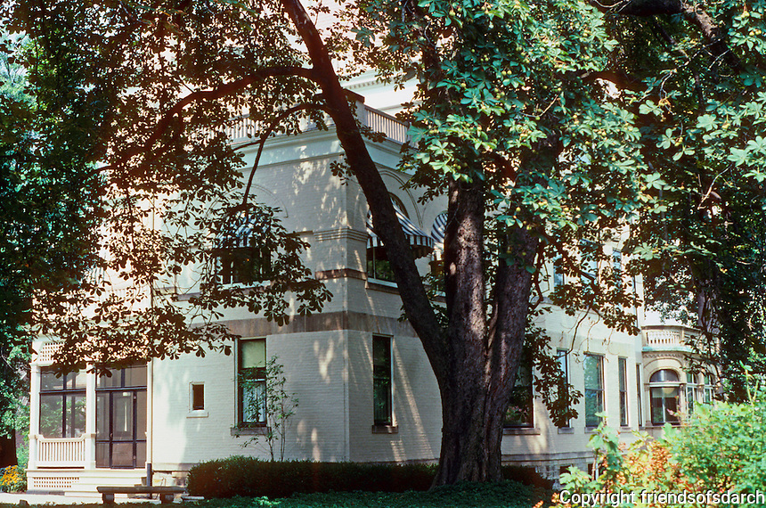 """Pittsburgh: Henry Clay Frick's """"Clayton"""" seen through the trees. Frick's daughter, Helen, lived here until her death in 1984. Photo 2001."""