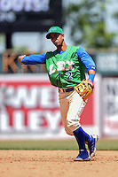 Lexington Legends second baseman Ramon Torres (2) throws to first during a game against the Hagerstown Suns on May 19, 2014 at Whitaker Bank Ballpark in Lexington, Kentucky.  Lexington defeated Hagerstown 10-8.  (Mike Janes/Four Seam Images)