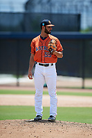 GCL Astros relief pitcher Carlos Sierra (55) gets ready to deliver a pitch during a game against the GCL Nationals on August 6, 2018 at FITTEAM Ballpark of the Palm Beaches in West Palm Beach, Florida.  GCL Astros defeated GCL Nationals 3-0.  (Mike Janes/Four Seam Images)