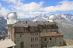 Gornergrat train leads to this summit observatory in the Alps above Zermatt, Switzerland.