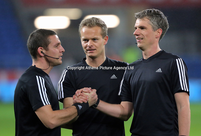 Referee Bart Vertenten (C) during the international friendly soccer match between Wales and Panama at Cardiff City Stadium, Cardiff, Wales, UK. Tuesday 14 November 2017.