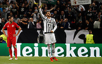 Calcio, Champions League: Gruppo D - Juventus vs Siviglia. Torino, Juventus Stadium, 30 settembre 2015.  <br /> Juventus' Alvaro Morata celebrates with teammates after scoring during the Group D Champions League football match between Juventus and Sevilla at Turin's Juventus Stadium, 30 September 2015.<br /> UPDATE IMAGES PRESS/Isabella Bonotto