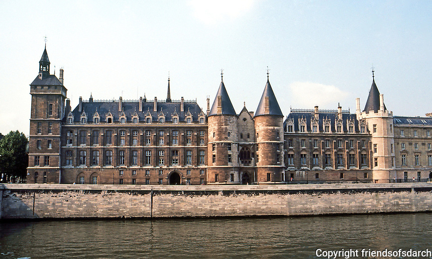 "Paris: The Conciergerie--from ""concierge""--keeper of the royal palace.  Built by Philip the Fair in 14th C. On the right, the oldest tower Tower Bonbec--""The Babbler"". Used as a prison. Photo '90."