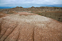 Badland formations near Bogfoot Pass; Badlands National Park, SD