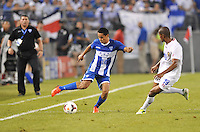 Andy Najar (14) of Honduras goes against Roy Miller (19) of Costa Rica.  Honduras defeated Costa Rica 1-0 at the quaterfinal game of the Concacaf Gold Cup, M&T Stadium, Sunday July 21 , 2013.