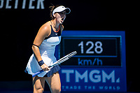 10th February 2021, Melbourne, Victoria, Australia; Bianca Andreescu of Canada celebrates after winning a game during round 2 of the 2021 Australian Open on February 10 2020, at Melbourne Park in Melbourne, Australia.