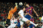 Football Season 2009-2010. Barcelona's player Zlatan Ibrahimovic (R) and Mallorca's player Ramis (C) and goalkeeper Aouate (L) during the Spanish first division soccer match at Camp Nou stadium in Barcelona November 07, 2009.
