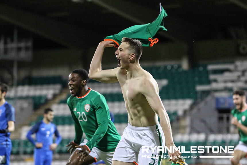 Republic of Ireland's Shaun Donnellan celebrates after scoring the winning goal in injury time during the 2019 UEFA Under 21 European Qualifying Round between the Republic of Ireland and Azerbaijan on Tuesday 27th March 2018 at Tallaght Stadium, Dublin. Photo By Michael P Ryan
