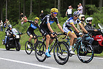 Johnny Hoogerland (NED) Vacansoleil-DCM with Kanstanstin Sivtsov (BLR) and Bernhard Eisel (AUT) Sky Prpoycling at the tail end of the peloton as they climb the Cote de Francorchamps during Stage 1 of the 99th edition of the Tour de France, running 198km from Liege to Seraing, Belgium. 1st July 2012.<br /> (Photo by Eoin Clarke/NEWSFILE)