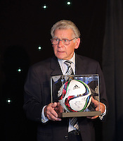 Pictured: One of the signed balls is auctioned Wednesday 11 May 2016<br /> Re: Awards Dinner 2016, at the Liberty Stadium, south Wales, UK.