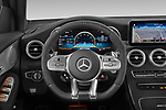 Car pictures of steering wheel view of a 2021 Mercedes Benz GLC-Coupe AMG-GLC-63-S 5 Door SUV Steering Wheel