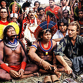 Altamira Gathering, Brazil. Kayapo chiefs Raoni and Payakan with Sting and Marcos Terena and chiefs from Canada and the USA. Altamira Gathering, 1989.
