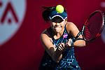 Nao Hibino of Japan vs Kristina Mladenovic of France during their Singles Round 2 match at the WTA Prudential Hong Kong Tennis Open 2016 at the Victoria Park Tennis Stadium on 13 October 2016 in Hong Kong, China. Photo by Marcio Rodrigo Machado / Power Sport Images