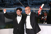 DIRECTOR JOAO PAULO MIRANDA MARIA, WINNER OF THE SPECIAL MENTION FOR A SHORT FILM FOR 'THE GIRL WHO DANCED WITH THE DEVIL' AND DIRECTOR JUANJO GIMENEZ, WINNER OF THE SHORT FILM PALME D'OR FOR THE FILM 'TIMECODE' - PHOTOCALL OF THE WINNERS AT THE 69TH FESTIVAL OF CANNES 2016