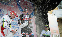 Champaign for the podium boys, with John Degenkolb (DEU/Giant-Alpecin) on the highest step and previous years winner Alexander Kristoff (NOR/Katusha) 2nd.<br /> Michael Matthews (AUS/Orica-GreenEDGE) is 3rd.<br /> <br /> 106th Milano - San Remo 2015