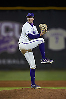 Western Carolina Catamounts relief pitcher Eric Wallington (10) in action against the St. John's Red Storm at Childress Field on March 13, 2021 in Cullowhee, North Carolina. (Brian Westerholt/Four Seam Images)