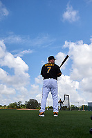 Pittsburgh Pirates Garth Brooks (7) warms up during the teams first Spring Training practice on February 18, 2019 at Pirate City in Bradenton, Florida.  (Mike Janes/Four Seam Images)