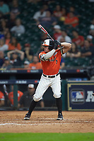 Jaxxon Grisham (3) of the Sam Houston State Bearkats at bat against the Mississippi State Bulldogs during game eight of the 2018 Shriners Hospitals for Children College Classic at Minute Maid Park on March 3, 2018 in Houston, Texas. The Bulldogs defeated the Bearkats 4-1.  (Brian Westerholt/Four Seam Images)