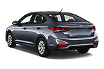 Car pictures of rear three quarter view of a 2018 Hyundai Accent SE 4 Door Sedan angular rear