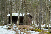 Appalachian Trail - Trapper John Shelter is a Adirondack-style shelter located just off the Holts Ledge Trail at 1345 feet in New Hampshire USA. This shelter is named after Trapper John McIntyre a character from M*A*S*H. He also is a Dartmouth College alumni.