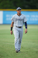 Carlos Vidal (72) of the Pulaski Yankees warms up in the outfield prior to the game against the Burlington Royals at Burlington Athletic Park on August 6, 2015 in Burlington, North Carolina.  The Royals defeated the Yankees 1-0. (Brian Westerholt/Four Seam Images)