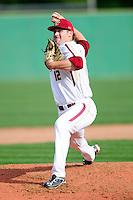 Boston College Eagles pitcher John Gorman (12) during a game versus the Hartford Hawks at Pellagrini Diamond at Shea Field on May 9, 2015 in Chestnut Hill, Massachusetts. (Ken Babbitt/Four Seam Images)
