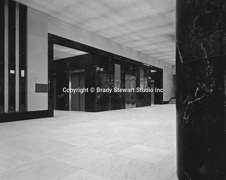 Pittsburgh PA:  The Grant Building, First Floor Elevator Bank. The photographic assignment was for a brochure to highlight upgrades to the building and to solicit more tenants.  The 40-story Grant Building is located at 310 Grant Street and was built in 1929.