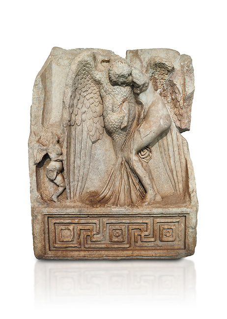 Roman Sebasteion relief  sculpture of Leda and swan, Aphrodisias Museum, Aphrodisias, Turkey.   Against a white background.<br /> <br /> Zeus disguised as a swan assaults Spartan princess Leda. The bird stands on the tips of its outspread wings and presses its webbed foot on the thigh of modest, struggling Leda. The swan is supported from behind a small Eros. From this encounter came a large egg from which were born Helen and the Dionskouroi twins, Kastor and Polydeukes