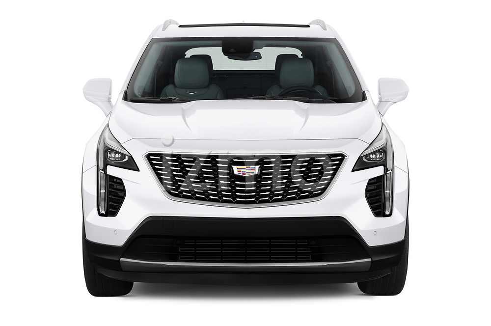 Car photography straight front view of a 2020 Cadillac XT4 Premium Luxury 5 Door SUV