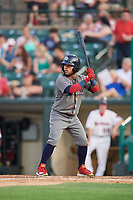 Lehigh Valley IronPigs left fielder Alexi Amarista (2) at bat during a game against the Rochester Red Wings on June 30, 2018 at Frontier Field in Rochester, New York.  Lehigh Valley defeated Rochester 6-2.  (Mike Janes/Four Seam Images)