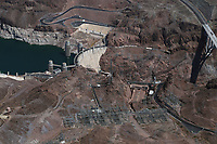 aerial photograph of Hoover Dam during drought conditions, Nevada