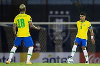 17th November 2020; Centenario Stadium, Montevideo, Uruguay; Qatar 2022 qualifiers; Uruguay versus Brazil; Thiago Silva of Brazil looks to use Douglas Luiz