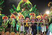 Imperatriz Leopolinense Samba School, Carnival, Rio de Janeiro, Brazil, 26th February 2017. The 'Beautiful Monster' - Belo Monstro - float. The Kayapo Indians are at the front of the float; from left: Beptirití Kayapó, Beptuk Metuktire, Kamikiá Kisedje, Raoni Metuktire, Megaron Txucarrhamãe, Bemoro Metuktire and Kreton Panará.