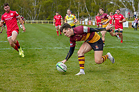 Will FOSTER (11) of Ampthill scores his team's first try during the Greene King IPA Championship match between Ampthill RUFC and Jersey Reds at Dillingham Park, Ampthill, England on 1 May 2021. Photo by David Horn.