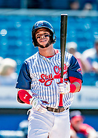 22 July 2018: Syracuse SkyChiefs outfielder Yadiel Hernandez at bat during a game against the Louisville Bats at NBT Bank Stadium in Syracuse, NY. The Bats defeated the Chiefs 3-1 in AAA International League play. Mandatory Credit: Ed Wolfstein Photo *** RAW (NEF) Image File Available ***
