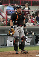 April 17, 2004:  Catcher Lance Burkhart of the Bowie BaySox, AA Eastern League affiliate of the Baltimore Orioles, during a game at Jerry Uht Park in Erie, PA.  Photo by:  Mike Janes/Four Seam Images