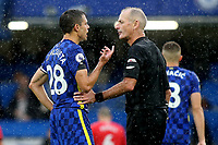 Chelsea's Cesar Azpilicueta speaks to referee, Martin Atkinson, at the end of the first half during Chelsea vs Southampton, Premier League Football at Stamford Bridge on 2nd October 2021