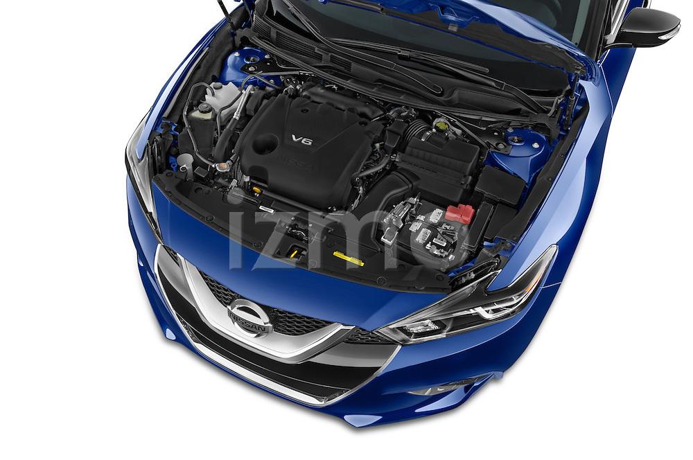 Car Stock 2018 Nissan Maxima SR 4 Door Sedan Engine high angle detail view