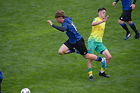 Jorge Akers goes flying during the Central League football match between Miramar Rangers and Lower Hutt AFC at David Farrington Park in Wellington, New Zealand on Saturday, 10 April 2021. Photo: Dave Lintott / lintottphoto.co.nz
