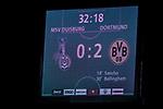 14.09.2020, Schauinsland-Reisen-Arena, Duisburg, GER, DFB Pokal 1. Runde, MSV Duisburg vs Borussia Dortmund, im Bild Anzeigetafel Spielstand 0:2, <br /> <br /> <br /> Foto © nordphoto / Rauch<br /> <br /> Gemäß den Vorgaben der DFL Deutsche Fußball Liga bzw. des DFB Deutscher Fußball-Bund ist es untersagt, in dem Stadion und/oder vom Spiel angefertigte Fotoaufnahmen in Form von Sequenzbildern und/oder videoähnlichen Fotostrecken zu verwerten bzw. verwerten zu lassen.
