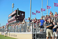 View of the spectators in the stand during singing of National Anthem before NCAA soccer game, Sunday, October 26, 2014 in College Station, Tex. South Carolina draw 2-2 against Texas A&M in double overtime. (Mo Khursheed/TFV Media via AP Images)