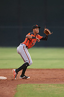 AZL Giants Orange second baseman Edison Mora (18) prepares to catch a throw from the catcher on a stolen base attempt during an Arizona League game against the AZL Giants Black on July 19, 2019 at the Giants Baseball Complex in Scottsdale, Arizona. The AZL Giants Black defeated the AZL Giants Orange 8-5. (Zachary Lucy/Four Seam Images)