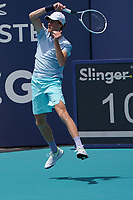 4th April 2021; Miami Gardens, Miami, Florida, USA;  Jannik Sinner (ITA) hits a forehand during the mens finals match of the Miami Open on April 4, 2021, at Hard Rock Stadium in Miami Gardens, Florida