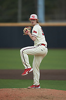 Dayton Flyers relief pitcher Anthony Hattrup (35) in action against the Campbell Camels at Jim Perry Stadium on February 28, 2021 in Buies Creek, North Carolina. The Camels defeated the Flyers 11-2. (Brian Westerholt/Four Seam Images)