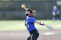 Rogers pitcher Kadence Janney (23) throws a pitch, Thursday, April 29, 2021 during a softball game at Bentonville High School in Bentonville. Check out nwaonline.com/210430Daily/ for today's photo gallery. <br /> (NWA Democrat-Gazette/Charlie Kaijo)