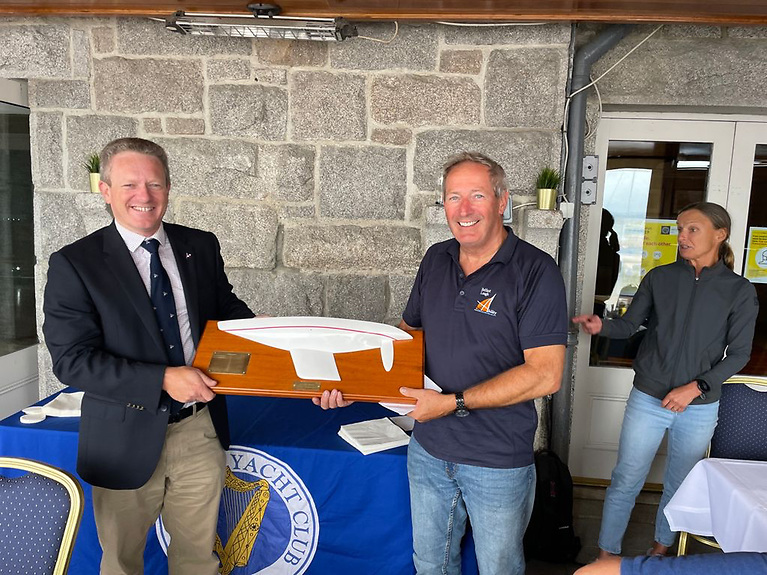 John Patrick (right) from Belfast Sailability was the winner of the Open Division of the 2.4mR Nationals held at Dun Laoghaire Harbour and receives his prize fromNational Yacht Club Commodore Conor O'Regan