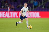 ORLANDO CITY, FL - FEBRUARY 18: Becky Sauerbrunn #4 of the United States moves with the ball during a game between Canada and USWNT at Exploria Stadium on February 18, 2021 in Orlando City, Florida.