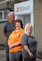 Pictured L-R: Graham Randall, Margaret Jenkins and Jillian Miggins. Thursday 10 August 2017<br />Re: DS Smith employees Margaret Jenkins, Jillian Miggins and Graham Randall are celebrating 120 years of service between the three of them at the company's Neath factory in south Wales.