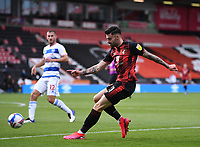 17th October 2020; Vitality Stadium, Bournemouth, Dorset, England; English Football League Championship Football, Bournemouth Athletic versus Queens Park Rangers; Diego Rico of Bournemouth shoots at goal under pressure from Dominic Ball of Queens Park Rangers