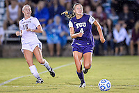 TCU defender Bobbi Clemmer (4) goes after the ball during NCAA soccer game, Friday, September 12, 2014 in San Marcos, Tex. TCU defeated Texas State 1-0. (Mo Khursheed/TFV Media via AP Images)